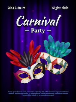 Carnival placard. masquerade poster invitation with venetian party mask