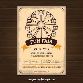 Carnival poster template with ferris wheel