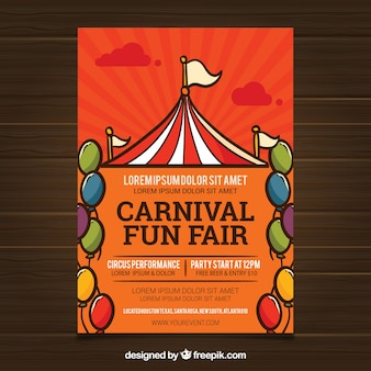 Carnival poster template with tent