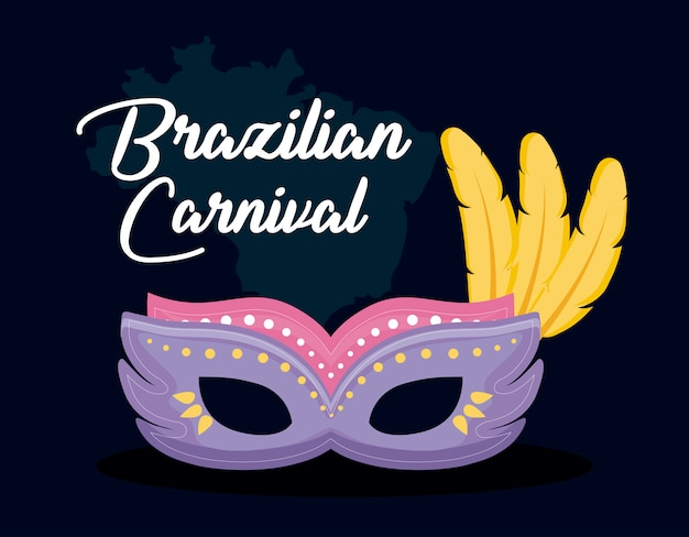 Carnival rio card with mask