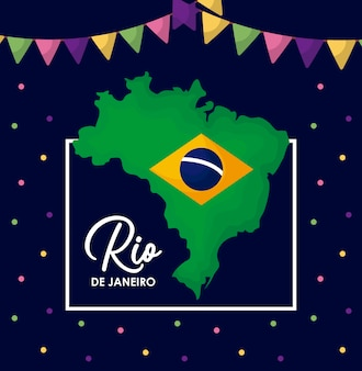 Carnival rio janeiro card with map