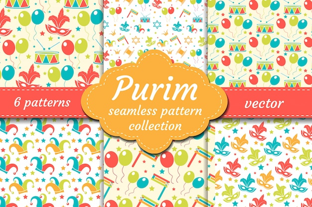 Carnival seamless pattern set. collection purim background. holiday, masquerade, festival, birthday party. endless backdrop, repetitive texture, wallpaper, paper.  illustration.