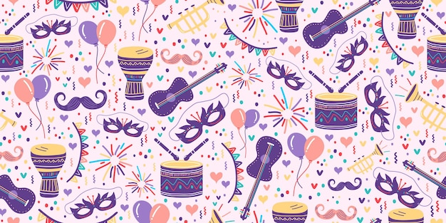 お祝いのフェスタジュニーナの描画とカーニバルのシームレスなパターン