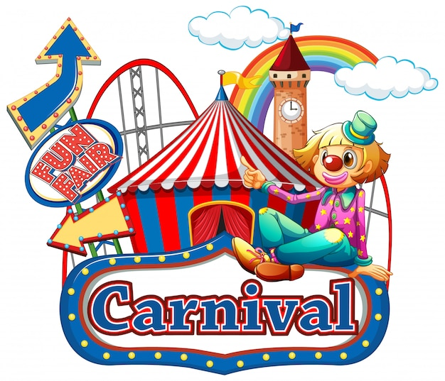 Carnival sign template with happy clown and rides