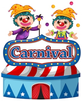 Carnival sign template with two happy clowns in