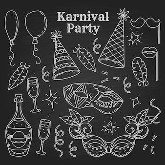 Карнавальные символы в стиле каракули на черном фоне, элементы карнавальной вечеринки