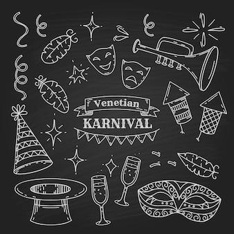 Карнавальные символы в стиле каракули на фоне доски, коллекция элементов венецианского карнавала