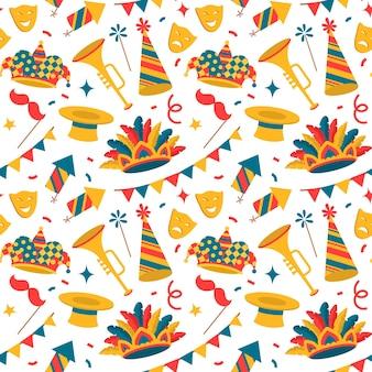 カーニバルのシンボル、シームレスなパターン、フラットスタイルのベネチアンカーニバル要素