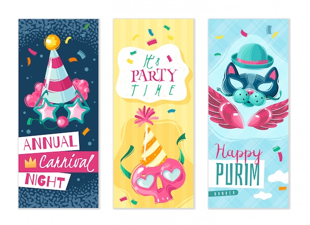Carnival things vertical banners set. set of three vertical banners on the carnival theme with shadows on white background with masquerade masks and holiday attributes