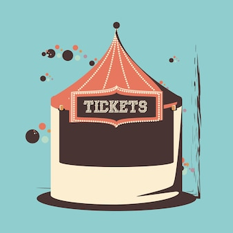 Carnival tickets shop tent icon vector illustration design