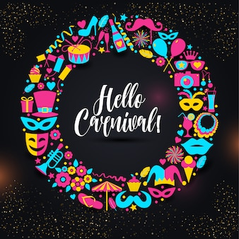 Carnival vector illustration in color wteath.