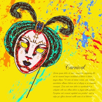 Carnival venetian style festive full face mask with text template
