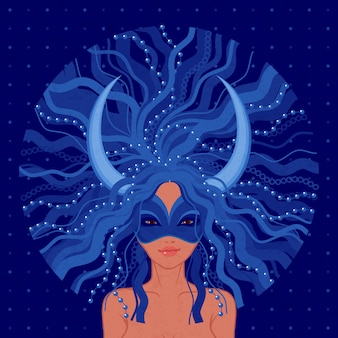 Carnival in venice illustration. young woman wearing blue mask with decorative horns