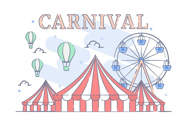 Карнавал с иллюстрацией цирковой шатер