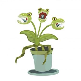 Плотоядное растение в горшке. иллюстрация для хэллоуина, на белом.