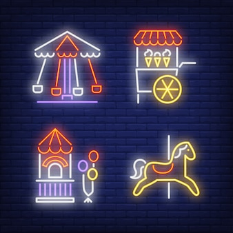 Carousel horse, ice-cream cart and ticket booth neon signs set