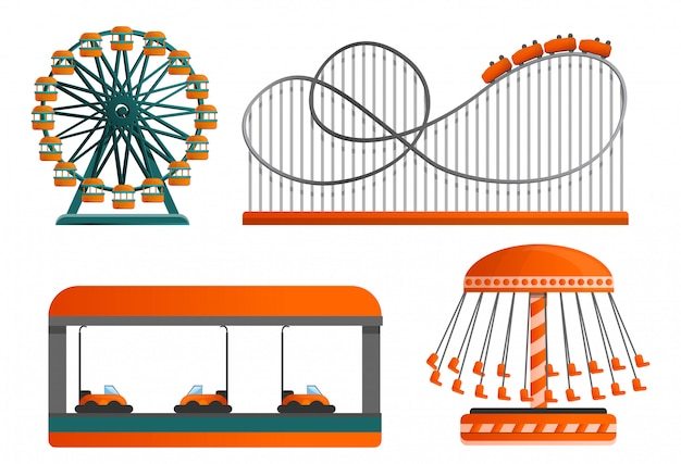 Carousel icon set, cartoon style