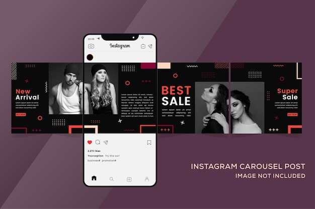 Carousel instagram templates banner for fashion sale