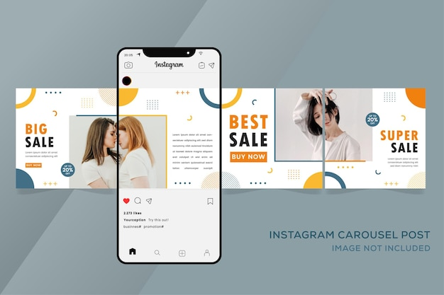 Carousel instagram templates for fashion colorful