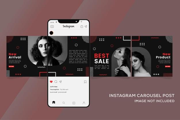 패션 판매 다채로운 프리미엄을위한 회전 목마 instagram 템플릿