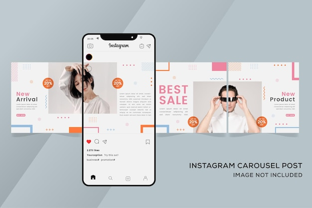 다채로운 패션 판매를위한 회전 목마 instagram 템플릿