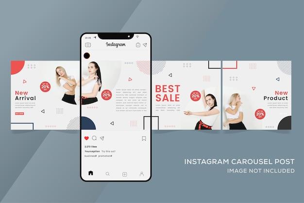 カラフルなファッション販売のためのカルーセルinstagramテンプレート