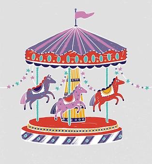 カルーセル、ラウンドアバウト、または愛らしい馬やポニーとのメリーゴーランド。星の花輪で飾られた子供向けの娯楽のための遊園地。フラットな漫画スタイルのカラフルなイラスト。