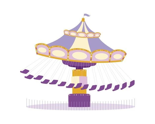 회전 목마 세미 플랫 컬러 벡터 개체입니다. 놀이 공원. 흰색에 전체 크기 항목입니다. 회전하는 원형 플랫폼. 그래픽 디자인 및 애니메이션을 위한 회전목마 격리된 현대 만화 스타일 그림