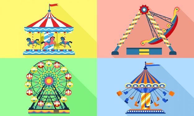 Carousel  set, flat style