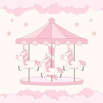 Carousel with cute unicorn and cloud