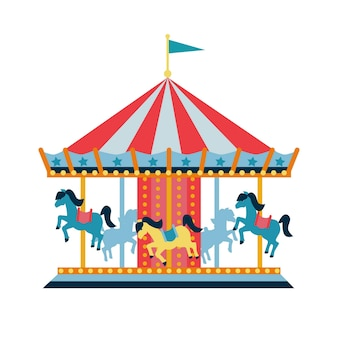 Carousel with horses or merrygoround for children amusement park circus  flat style vector