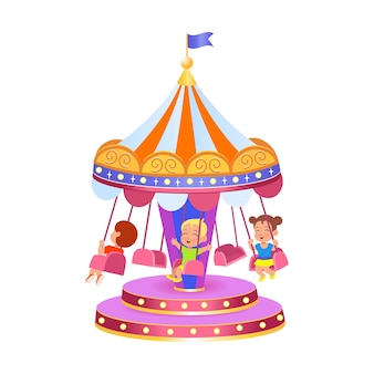 A carousel with swings vector illustration on a white background amusement park vector illustrati