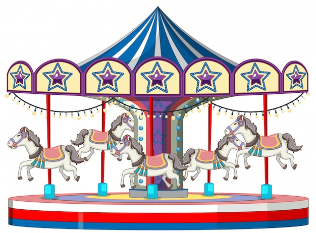 Carousel with white horse on white
