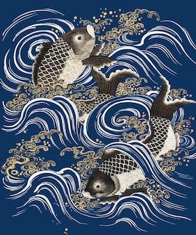 波の鯉の魚は、パブリックドメインのアートワークを備えた青い背景をベクトルします