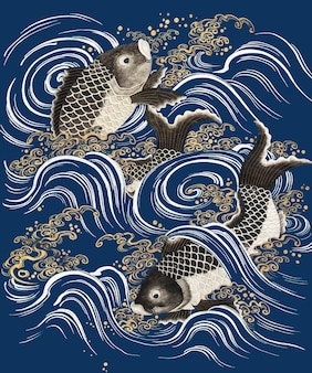 Carp fish in waves vector blue background, featuring public domain artworks