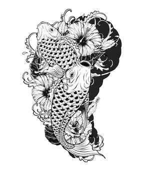 Carp fish with flower tattoo by hand drawing
