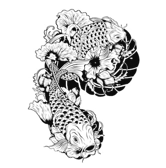 Carp fish with lotus vector tattoo by hand drawing