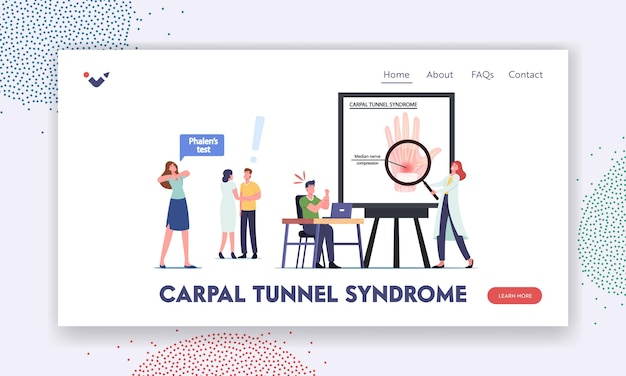 Carpal tunnel syndrome landing page template. characters suffer of median nerve compression in wrist after working on pc. woman make phalen test, health problem. cartoon people vector illustration