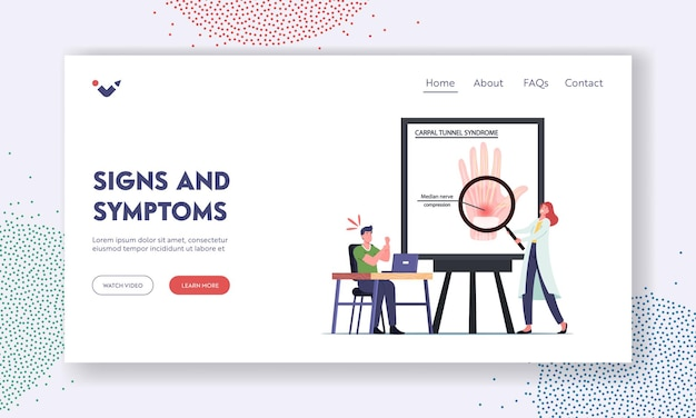 Carpal tunnel syndrome signs and symptoms landing page template. office worker male character suffer of pain in wrist after long working on pc. health infographics. cartoon people vector illustration