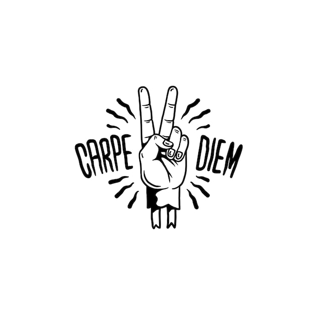 Carpe diem motivational illustration vector