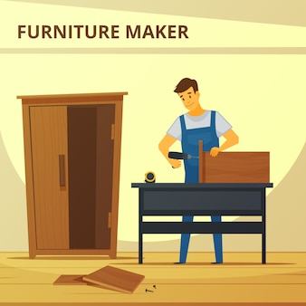 Carpenter assembling furniture flat poster with young professional