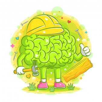 Carpenter brain cartoon with the wood and nail around of illustration