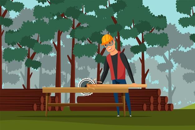 원형 톱 장비 도면을 사용하여 나무를 자르는 목수 빌더
