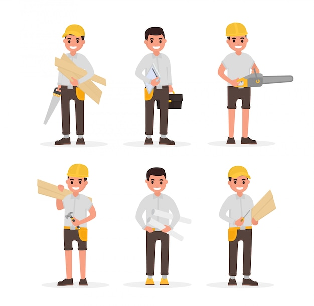 Carpenter, foreman, engineer, joiner and woodworker elements