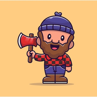 Carpenter holding ax   icon illustration. people profession icon concept   .