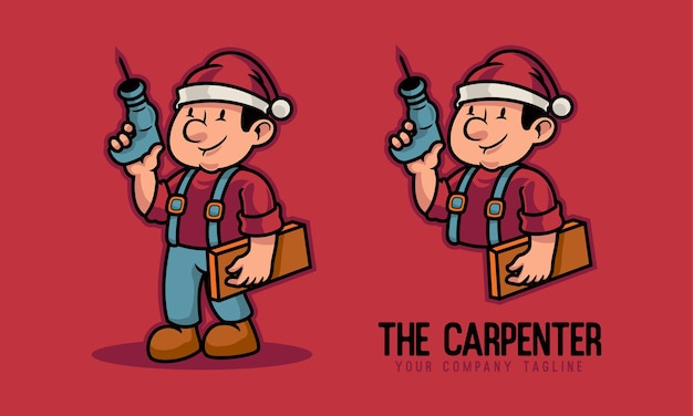 Carpenter holding drill and mascot logo wood planks