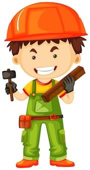 Carpentiere che tiene martello e legno