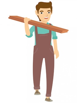 A carpenter holding the wood on the shoulder