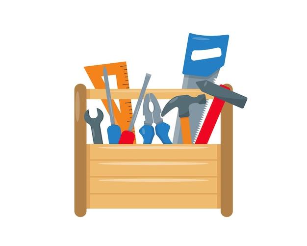 만화 스타일 그림 안에 악기가 있는 목수 또는 수리 도구 상자