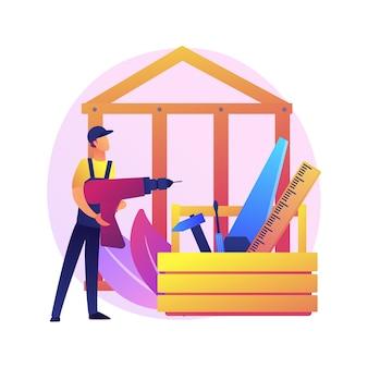 大工サービス抽象的な概念図。建物のメンテナンスと家の改修、家具の修理、木製の仕切り、カスタムキャビネット、窓枠、木工品